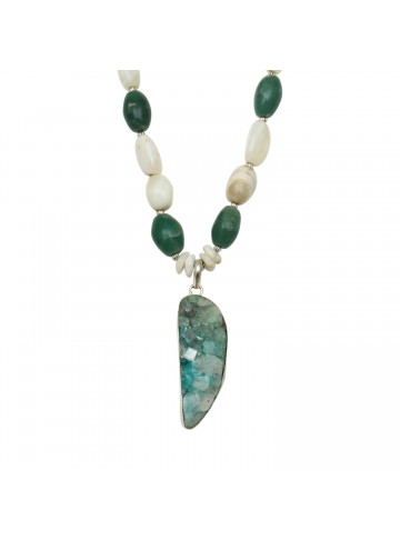 Green Agate and Pearl Necklace for Women and Girls