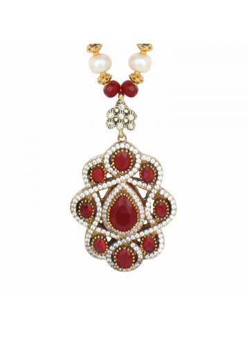 Red Quartz and Pearl Necklace for Women and Girls