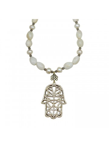 White Agate and Zircon Necklace for Women and Girls