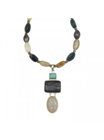 Turquoise and Black Agate Necklace for Women and Girls
