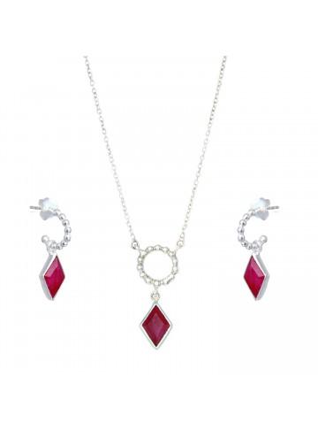 ruby pendant set