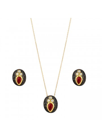 Black Rhodium Ruby Pendant Set