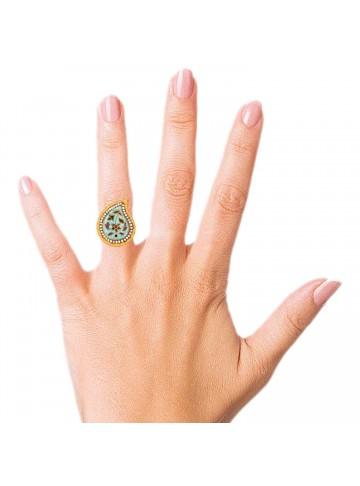 Enamelled Mango Shaped Ring