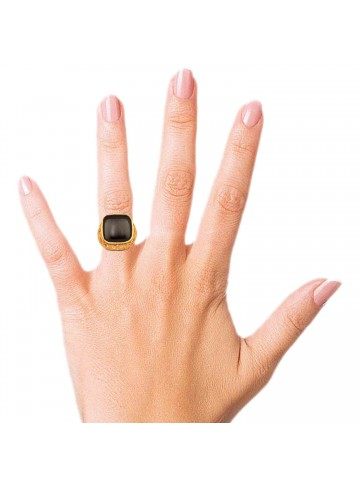Cushion Exotic Black Onyx Ring