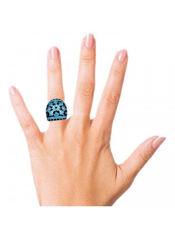 Blue Floral Enamel Ring
