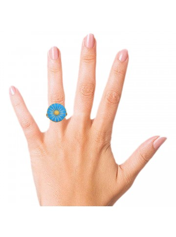 SkyBlue Enamel Disc Ring