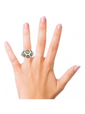 Turquoise Enamel Ring With Zircon