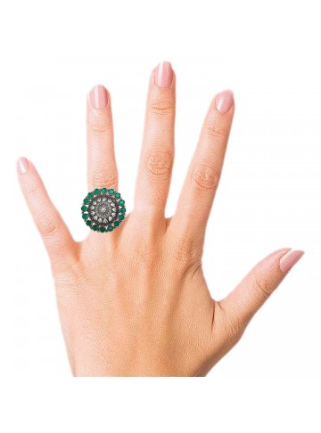 Hariyali Green Silver Statement Ring - Adjustable