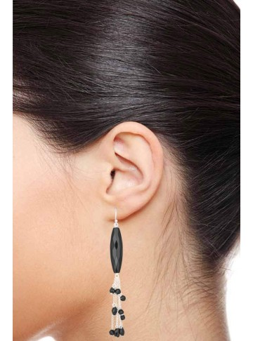 Glorious Black Onyx Tassel Earrings