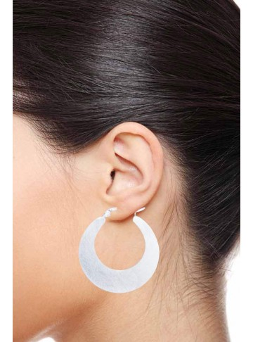 Trendy Soft Brushed Silver Hoops