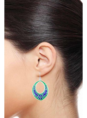 Lovely Leafy Enamel Chand Bali Earrings
