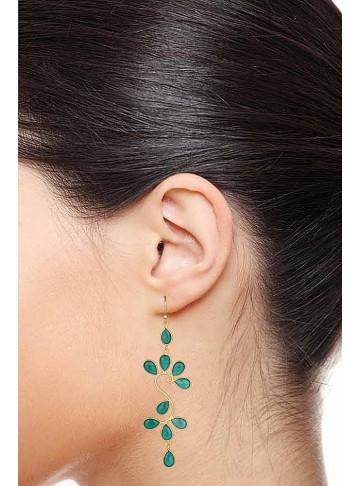 Green Onyx Floral Dangle Earrings