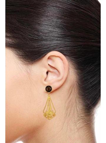 Smoky Topaz Mughal Drop Earrings