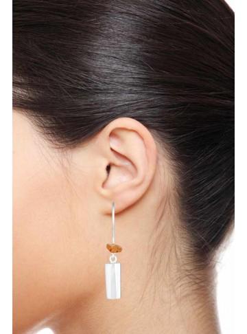Essential Modern Cylindrical Carnelian Drop Earrings