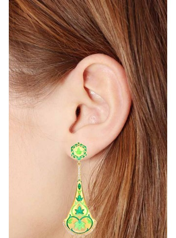 Dancing Temple Bell Enamel Drop Earrings-