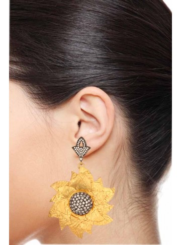 Cheerful Golden Sunflower Dangler Earrings