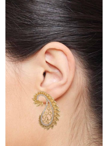 Paisley Gold Plated Silver Earrings