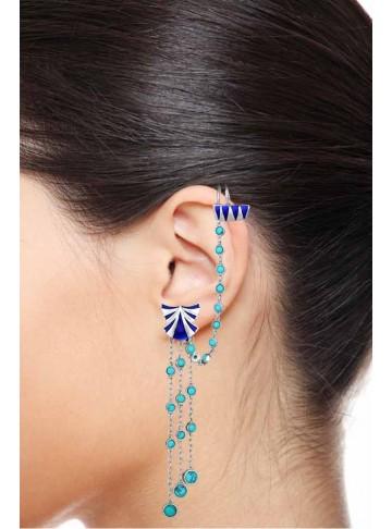 Turquoise Enamel Ear Cuff Dangle Earrings