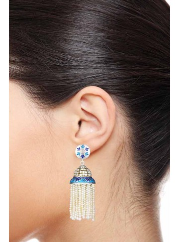 Pearl Crystal Quartz Jhumki Earrings