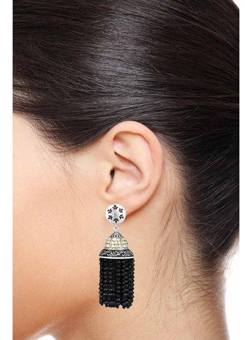 Black Onyx Quartz Jhumki Earrings