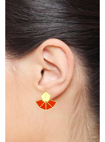 Prisma Pentagon Orange Enamel Studs