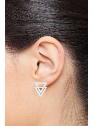Mirror Triangular Stud Earrings