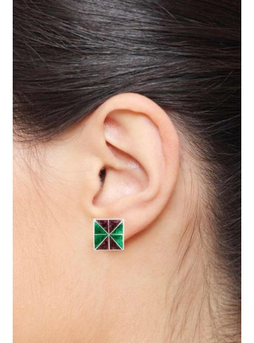 Pari Square Green Stud Earrings