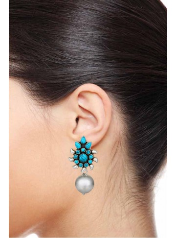 Neelamra Turquoise Silver Drop Earrings