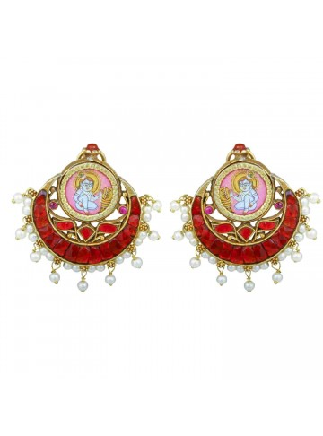 Krishna Red Silver Earrings