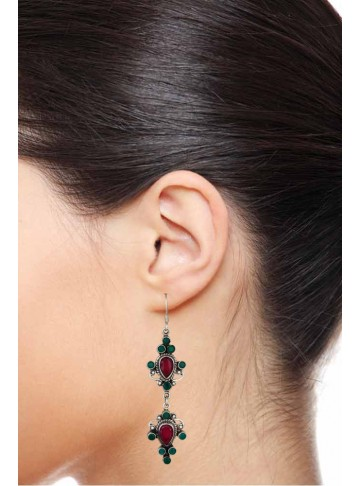 Dholna Red Green Earrings