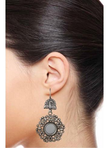 Peacock Phool Silver Earring