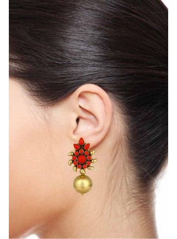 Coral Goldplated Silver Earrings