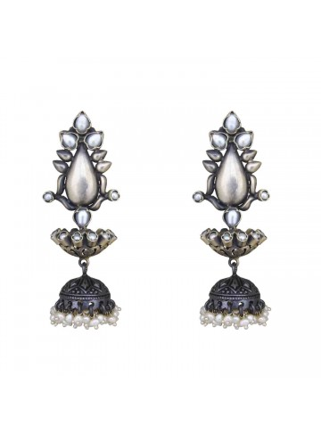 Lotus Silver Oxidized Jhumka