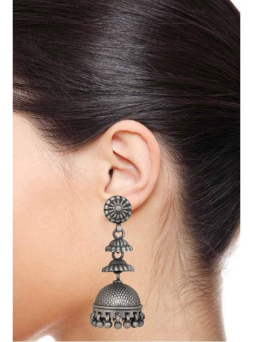 Chandrika Step Silver Oxidise Jhumka for Women and Girls