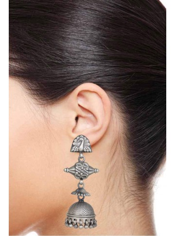 Traditional Oxidized Peacock Wedding Jhumka Earrings For Women and Girls