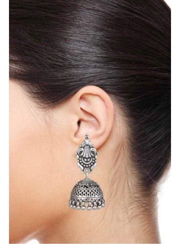 Mandira Silver Temple 925 Silver Jhumka for Women and Girls