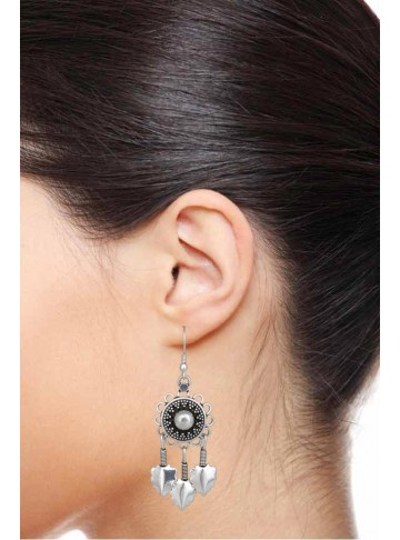 Handmade Dream Catcher Silver Tassel Earrings for Women and Girls
