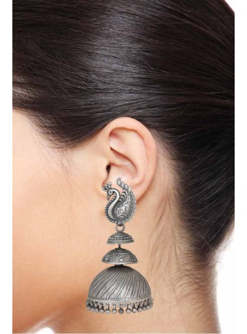 Beautiful Oxidized Peacock Design Indian Wedding Jhumka Earrings For Women