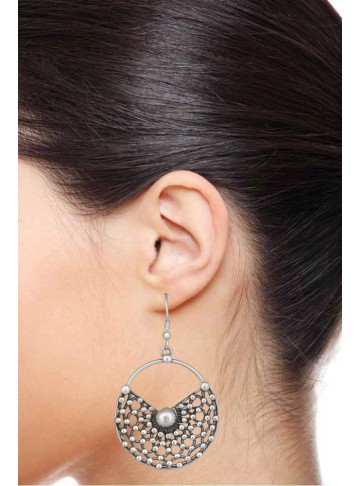 Half Moon Silver Drop Earrings for Women and Girls