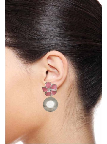 Pink Enamel Polo Earrings