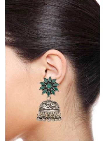 Green Onyx Floral Jhumka