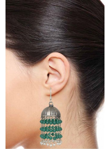 Green Beaded Jhumka