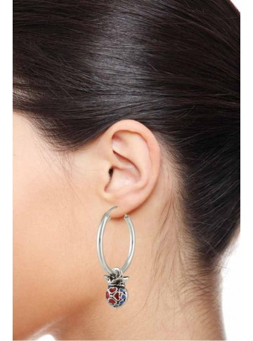 Sterling Silver Enamel Hearty Silver Hoop Earrings for Women and Girls