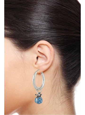 Blue Enamel Silver Hoop Earrings for Women and Girls