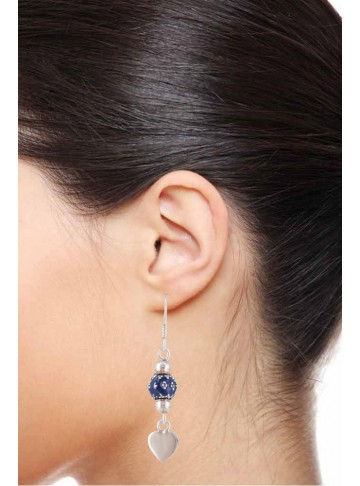 Adorable Blue Heart Silver Drop Earring for Girls