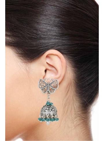 Butterfly Green Onyx Silver Jhumka