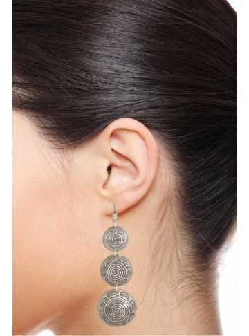 Concentric Circles Silver Earring