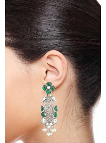 Green Onyx Pearl Earring