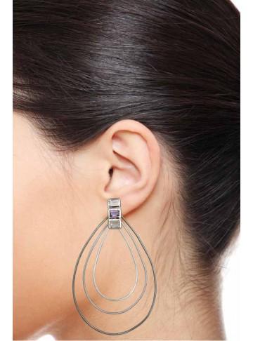 Winds of Change Rose Quartz Silver Hoop Earrings