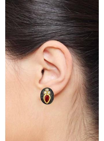 Oval Ruby Stud Earrings